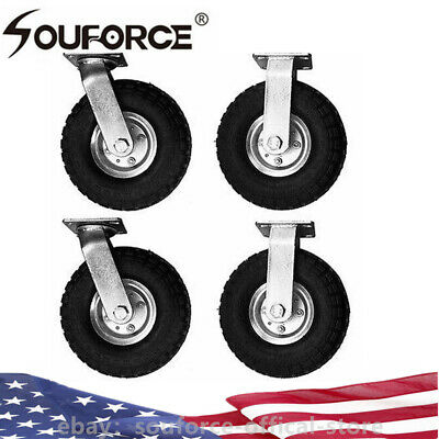 Us 4pcs 10 Inch Air Inflatable Rubber Wheels With Rim Dolly Tire Wheel 300lbs