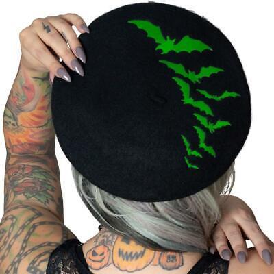 n Bat Repeat Beatnik Beret Hat NEW Black Batty Goth Punk Ro (Green Bat)