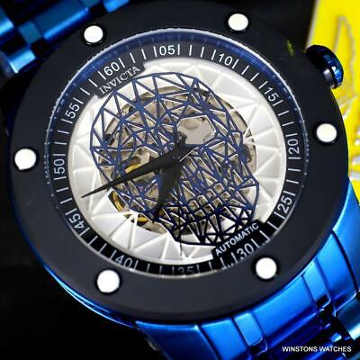 Invicta Speedway Skull NH70 Automatic Blue Steel 51mm Skeletonized Watch New