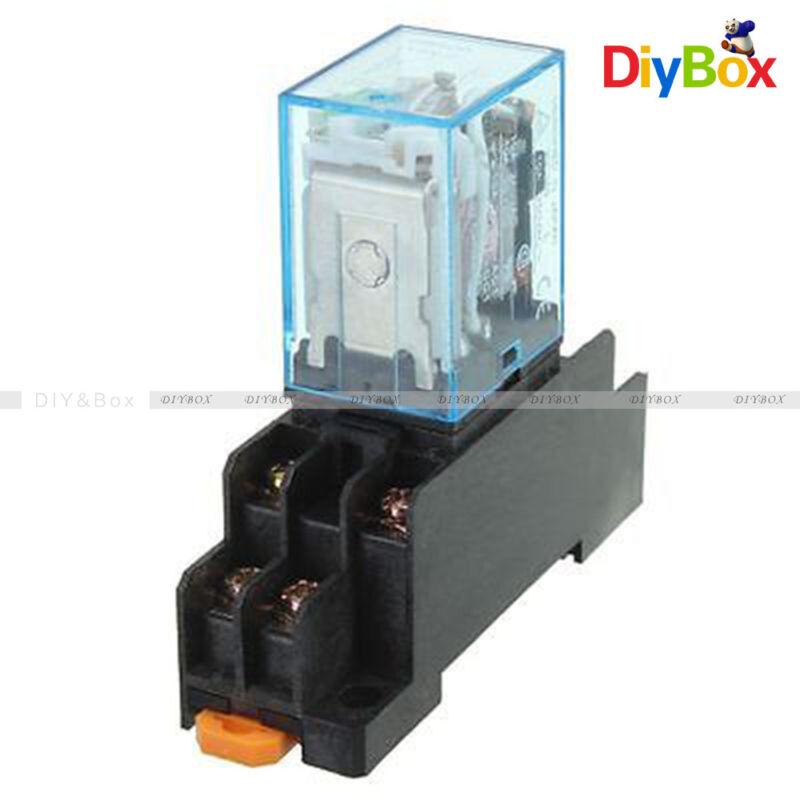 LY2NJ AC 220V DC12V Coil Power Relay 8Pin 10A DPDT HH62P HHC68A-2Z Socket Base