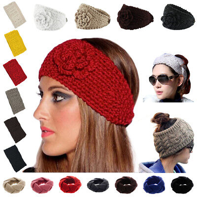 Headband Flowers Ear Crochet Hairband Winter Women Knit Warmer Headwrap - Flower Crochet Headband