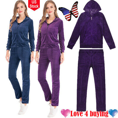 US Fashion Velvet Yoga Tracksuit Sets Sweatshirt Pocket Hoodie Sport -