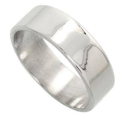 7mm Men & Women Sterling Silver Plain FLAT Wedding Band, Thumb Ring