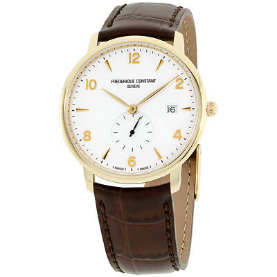 Frederique Constant Slimline Silver Dial Leather Strap Men's Watch FC245VA5S5