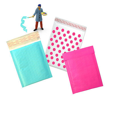Hot Pink Aqua And Polka Dot Kraft Bubble Mailers Padded Envelopes 4x8 6x9