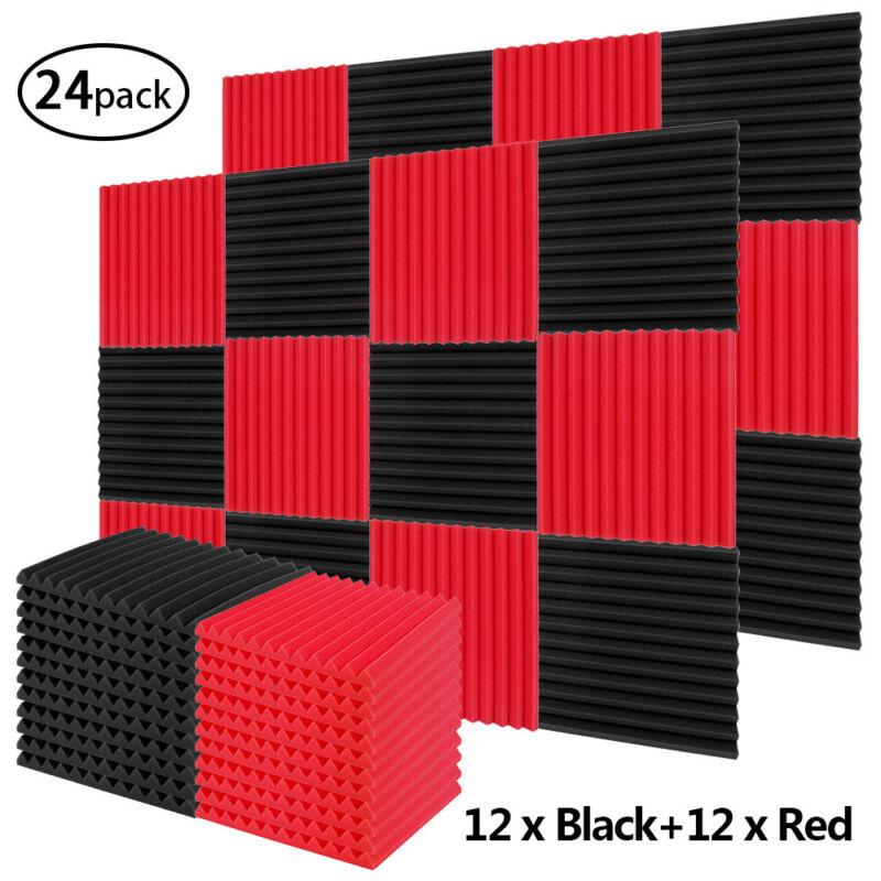 "24Pcs Acoustic Foam Panels Soundproofing Studio 1X12X12"" Pyramid Tiles Red Black"
