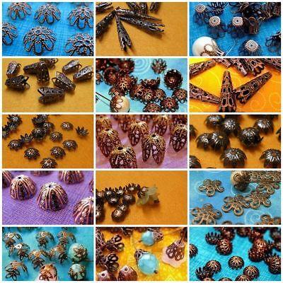 - Antiqued Copper Filigree Bead Caps Vintage Bohemian Style 6mm - 42mm FLAT SHIP