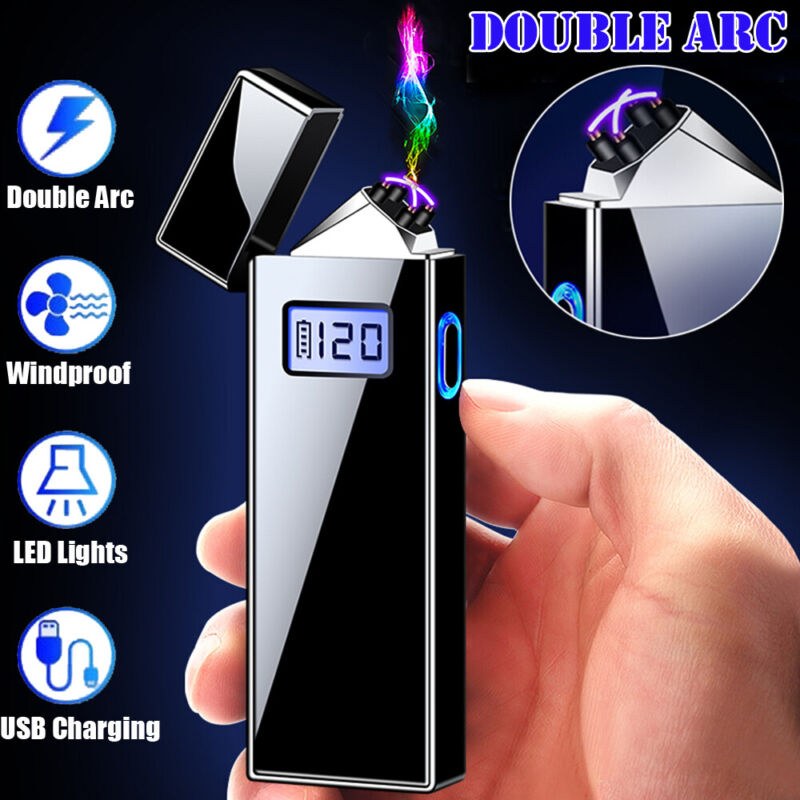 Windproof Electric Lighter Plasma Dual Arc Flameless USB Rechargeable Lighter US