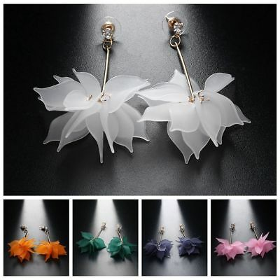 (Women Elegant White Ear Stud Crystal Flower Drop Long Dangle Earrings Jewelry)