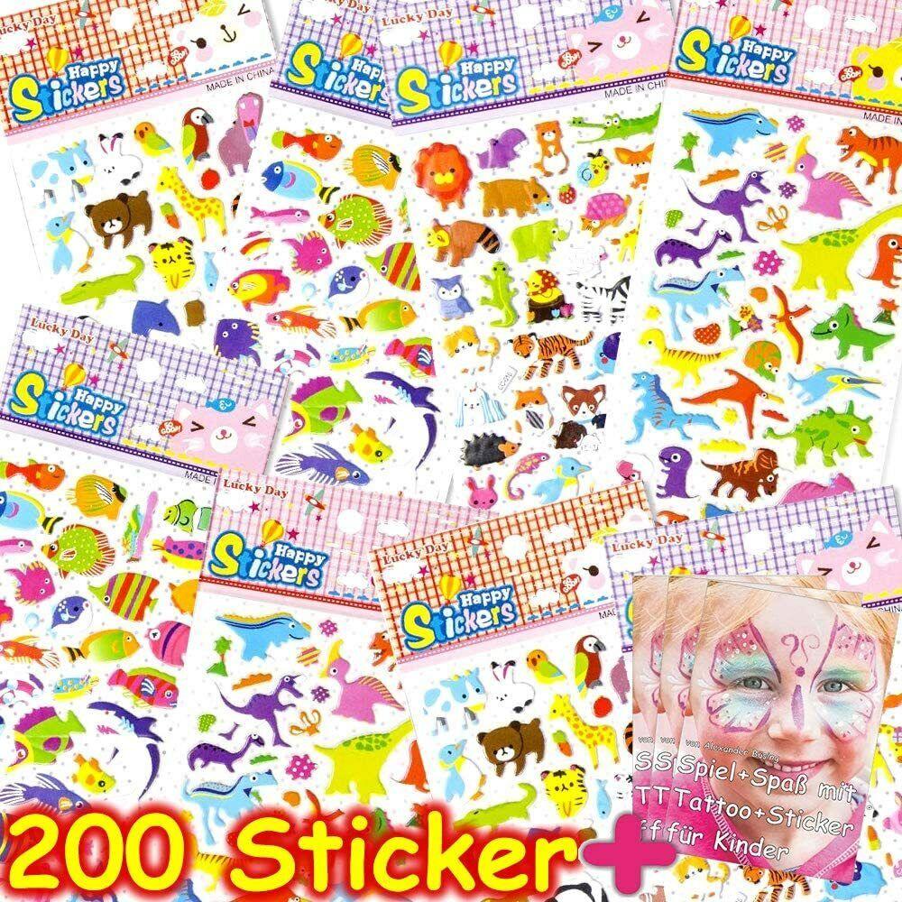 200 KINDER STICKER + 3D-Effekt - Aufkleber Mitgebsel Kindergeburtstag Basteln