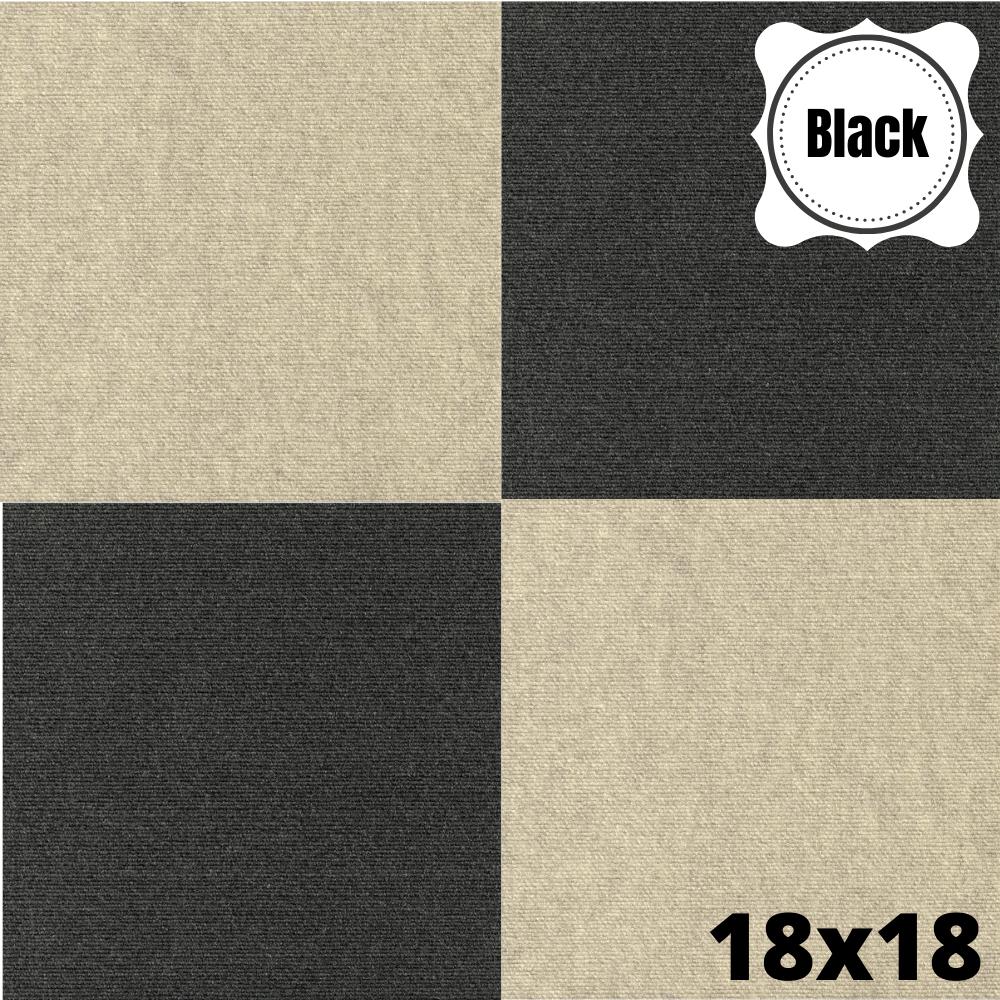 Carpet Tiles Black Peel And Stick Self Adhesive Mat Square Rug Basement Flooring