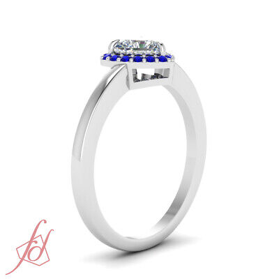.60 Ct Heart Shaped FLAWLESS Diamond & Blue Sapphire Halo Engagement Ring GIA 2