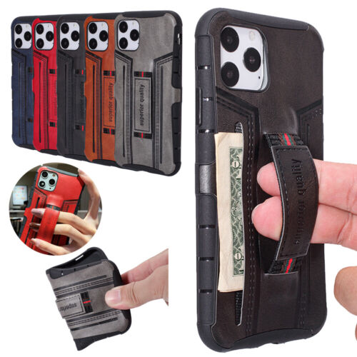 For iPhone 11 Pro Max XS XR 7 8+Slim Leather Card Strap Hold