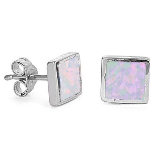White Opal Square Shape Stud .925 Sterling Silver Earrings