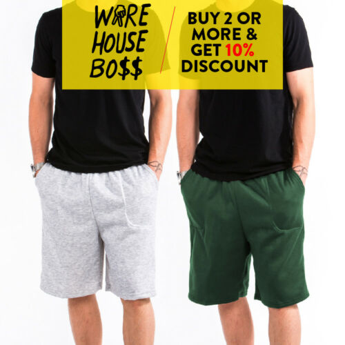 Hi Mens Womens Unisex Plain Sweat Shorts 3 Pocket Casual Gym Fleece Shorts Soft
