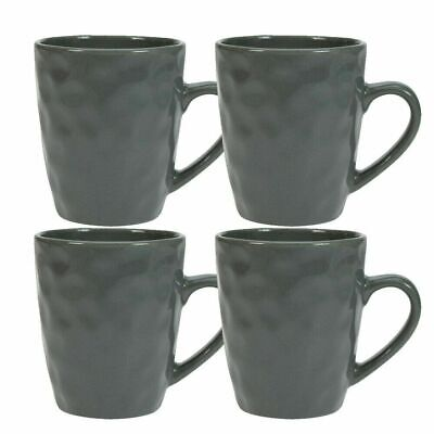Maison Home Storm Set Of 4 Mugs Stoneware Hammer Effect Coffee Tea In Grey