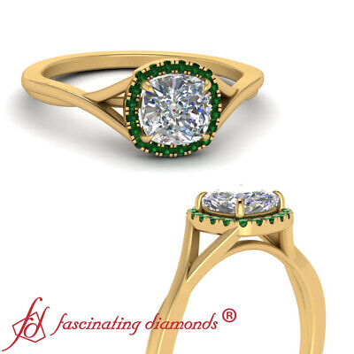 Cushion Cut Diamond & Emerald Gemstone Yellow Gold Halo Engagement Ring 1.10 Ctw