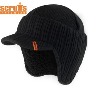 SCRUFFS WARM WINTER PEAKED BEANIE THERMAL INSULATED OUTDOOR BLACK WORK HAT  CAP af0217a933f