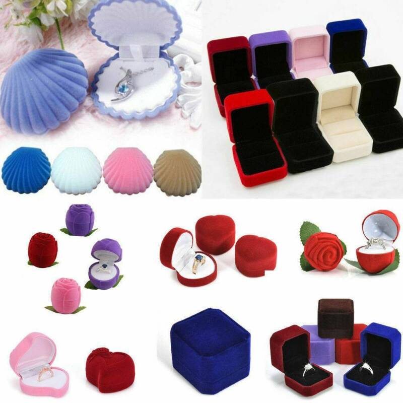 Christmas Small Black Jewellery Gift Boxes Ring Earring Jewe