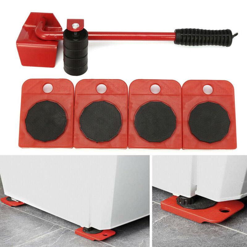 5Pcs Furniture Transport Lifter tool Set Heavy Stuffs Moving w/4 Silders Wheel