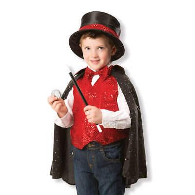 Zauberer Kostüm Kinder mit Umhang Hut Zubehör Magier Verkleidung Jungs Mädchen ()