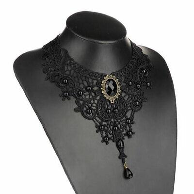 Schwarz Kristall Halskette Hochzeitskleid Spitze Anhänger Dame Mode Geschenk (Kristall Hochzeit Kleid)
