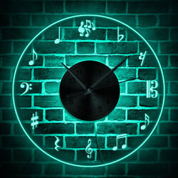 Modern Design Wall Clock With LED Backlight Treble Clef Lighted Sign Music Lover