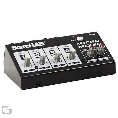 Soundlab 4 Channel Mono DJ Karaoke Microphone Mic Mixer With Echo Delay Effects