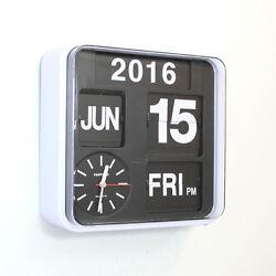 Fartech Retro Modern 9.5 Calendar Auto Flip Desk Wall Clock