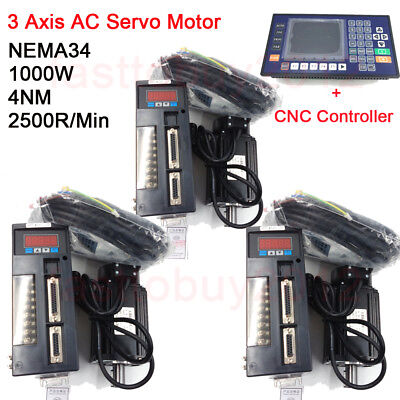 3axis 4nm 1kw Ac Servo Motor Nema34 Driver 2500rpmcnc Controller For Cnc Router