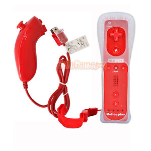 Remote Controller Built in Motion Plus + Nunchuck for Nintendo Wii Red