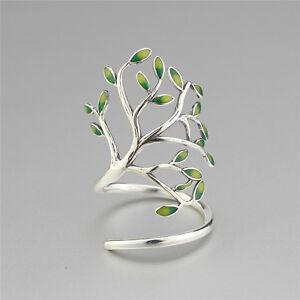 Sterling Silver 925 Tree of Life Branch Leaf Leaves Enamel Wrap Ring Adjustable