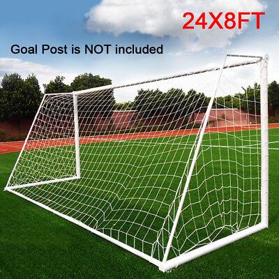 Full Size 24 x 8FT Football PE Net Soccer Goal Post Nets Sport Training Match - Foot Ball Goal Post