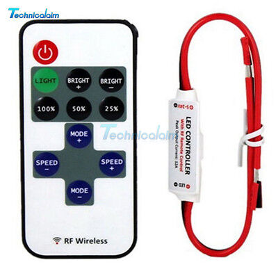 12V RF Wireless Remote Switch Controller Dimmer Control for Mini LED Strip Light Wireless Remote Controller