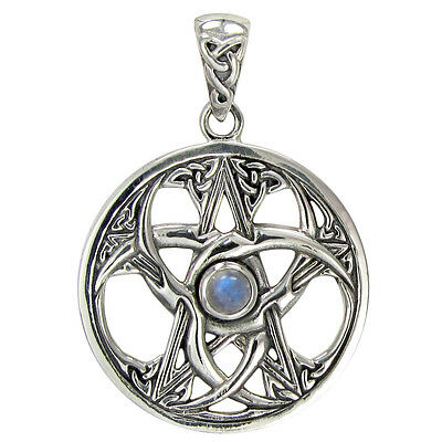 Sterling Silver Celtic Knot Moon Pentacle - Wiccan ...