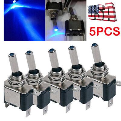 5 12v 20a Blue Led Light Toggle Rocker Switch Control Onoff Marine Car Boat Atv