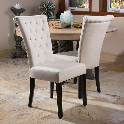 (Set of 2) Light Beige Fabric Roll-Top Dining Chairs w/ Tufted Accents