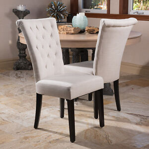 set of 2 light beige fabric rolltop dining chairs w tufted - Rolling Chair