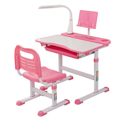 2pcs Kids Desk And Chair Set Study Table With Led Light Bookstand Wood Tiltable