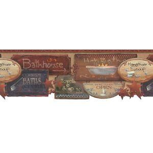 Country Bath Signs Wallpaper Border By York Ebay