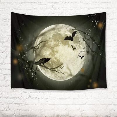 Decorate Living Room For Halloween (Halloween Moon Bat Crow Tapestry Wall Hanging for Living Room Bedroom Dorm)