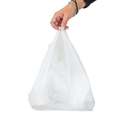 1000 White Plastic Vest Carrier Bags Small 10x15x18
