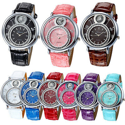 Womens Leather Band Stainless Steel Analog Quartz Dress Wrist Watch Sport Watch