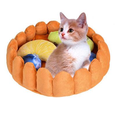 US Pet Dog Cat Fruit Tart Bed House Mat Kennel Doggy Soft Puppy Cushion Basket