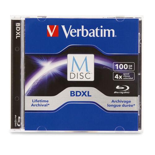 M DISC VERBATIM BDXL 100GB 4X TRIPLE LAYER Branded Logo JEWEL CASE - 1 pack