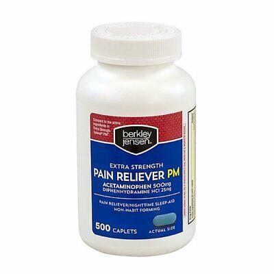 Berkley Jensen Extra Strength Non-aspirin Pm Acetaminophen 500 mg - 500 Caplets (Caplet Extra Strength Aspirin)
