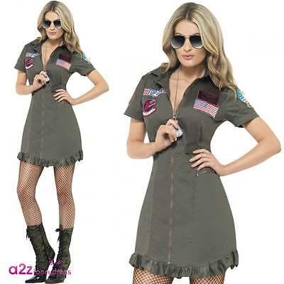 Damen Top Gun Deluxe Licensed Erwachsene Fancy Dress Kostüm Aviator Pilot