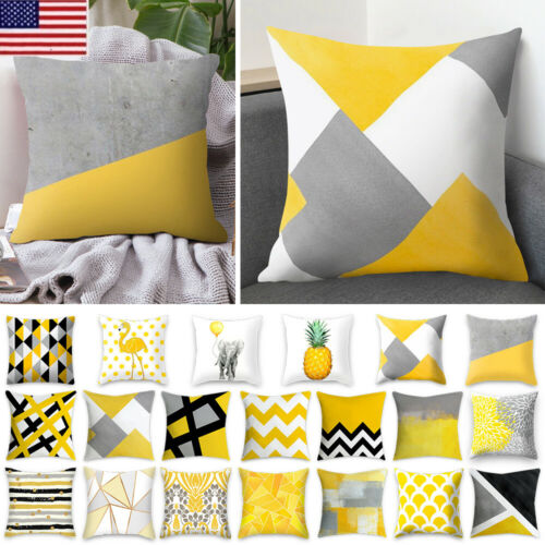 Yellow Polyester Throw Pillow Case Sofa Cushion Covers Home