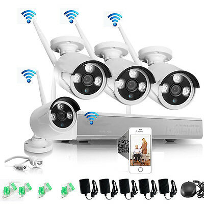 New 960P NVR Wireless Security Camera System 4x 1.3MP WiFi In/Outdoor IP66 Video