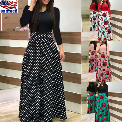 Plus Size Ladies Long Sleeve Floral Boho Women Party Bodycon Maxi Dress - Party Clothing